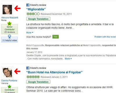 recensioni TripAdvisor friend of friend