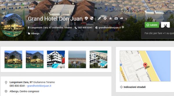 esempio scheda Google+ Local Hotel
