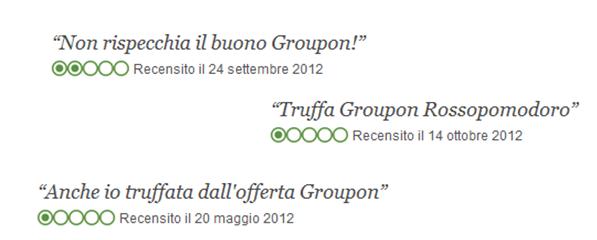 commenti su Tripadvisor clienti Groupon