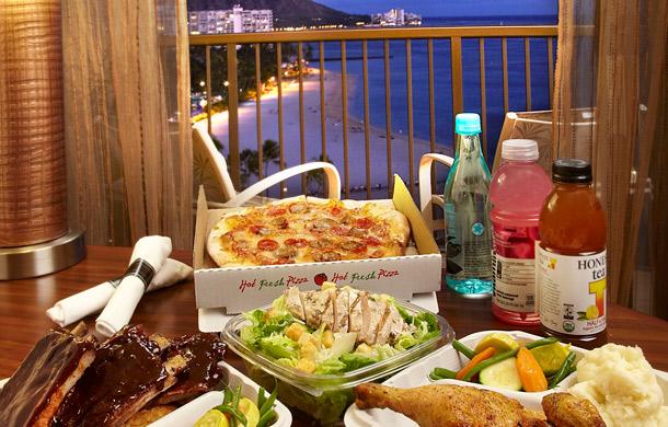 "Room service al Hilton Hawaii Village tramite App ""Fresh Connection"""